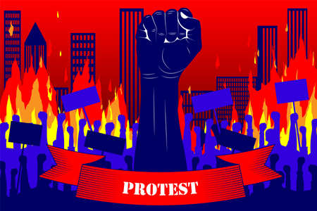 Protest. Silhouette of a raised fist with a ribbon that says PROTEST, on the background of protesting people and burning city, skyscrapers. Wall of fire, burning buildings, city. Vector Ilustração