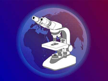 Modern microscope on the background of the planet Earth. Medical and scientific research, analyzes, blood samples, vaccine development. Illustration for clinics, laboratories, institutes and companies