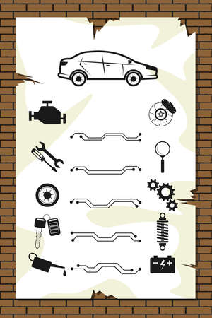 Car service, repair announcement, diagnostics and tire fitting - set of icons for repair around the car. Car and tools, instruments, with machine parts. Announcement sheet hanging on a brick wall