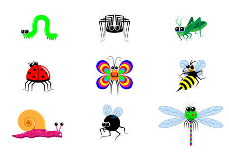Funny cartoon insects. Different emotions and postures. A set of 9 images. Vector for children's publications, editions, websites and shops. On a white isolated background. Various bright insects