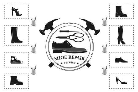 Shoe repair service and maintenance. Vector image . Trendy concept in old retro style. Shoemaker, cobbler template. Repair of women's and men's shoes. Shoes and a set of tools silhouette