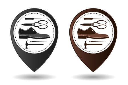 Shoe repair service and maintenance. Geolocation sign, location designation. Shoemaker, cobbler template. Repair of women's and men's shoes. Shoes and a set of tools silhouette. Vector