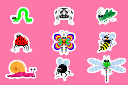 Stickers funny cartoon insects. Different emotions and postures. A set of 9 images with white outline. Vector for children's publications, editions, website and shops. Isolated. Various bright insects 向量圖像