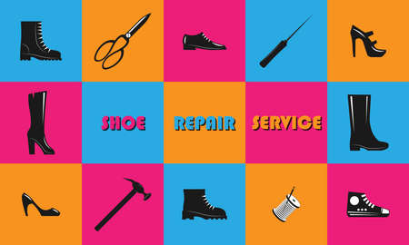 Shoe repair service and maintenance. Trendy concept in old retro style. Shoemaker, cobbler template. Repair of women's and men's shoes. Set of tools. Caption, inscription SHOE REPAIR SERVICE. Vector