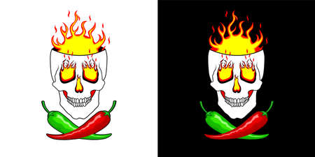 Hot red, green, mexican chili peppers on the background of burning skull. Super Hot peppers.   illustration for spicy hot Mexican, Indian dishes, sauces. Vector for cooking in two design options 일러스트