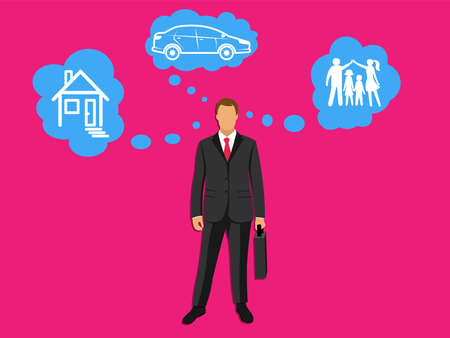A businessman in a business suit. Loans for a family, for a car, real estate, for family, household appliances, digital equipment, gadget, computer. Issuing loan, deposit, loan money, saving, banking