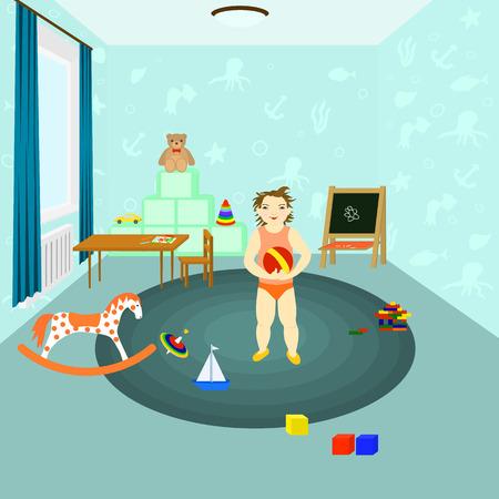 l'enfant joue des jouets dans une chambre d'enfants. Un conseil pour le dessin, la table des enfants avec une chaise, un cas pour les jouets, la machine, une balle, un ours, une toupie, le meccano, cubes