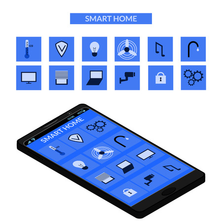 remote access: Concept of Smart Home and Control Device with different icons and elements. Mobile phone screen isometric.