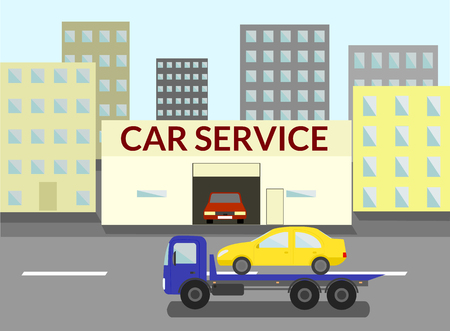 the wrecker: the wrecker carries the car to the car service on city road