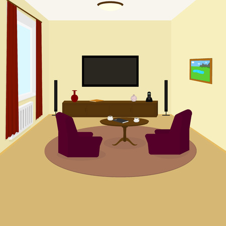 carpet floor: the interior of the living room TV on the wall, chairs, coffee cups on the table, Notepad, phone, watch, book, vase, painting on the wall, carpet on the floor