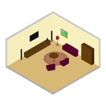 living room tv: isometric living room with TV on wall, Desk, chairs, wardrobe, sofa, painting, carpet on the floor