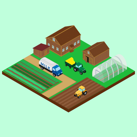 tractor trailer: illustration. The yard of a farm - house, barn, tractor with trailer, a tanker carrying the milk on the road, field, greenhouse Illustration