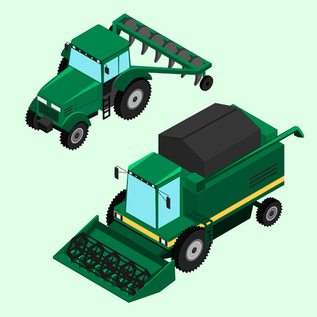 plow: illustration. Combine for harvesting and tractor with plow isolated. Illustration
