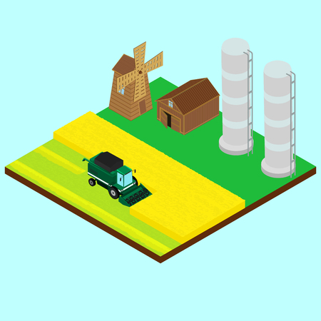 combine: illustration. Harvesting wheat. Harvester, windmill, silo, barn, combine harvester gathers wheat on a field. isometric