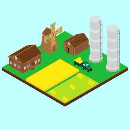 farm house: illustration. farm. The tractor trailer carrying the hay, field hay, a wheat field, windmill, barn, silo, farm house. isometric Illustration