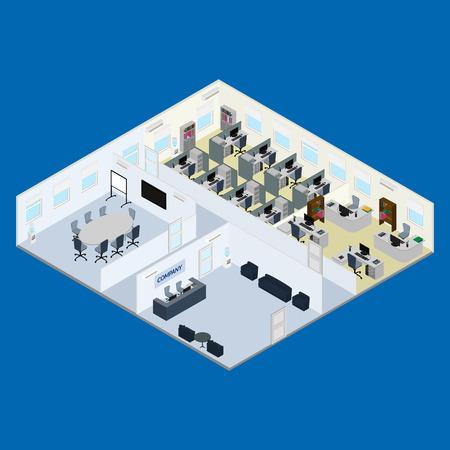ilustración. Interior de la oficina - recepción, sala de reuniones, espacio de oficina abierta, espacio para la gestión. isométrica.
