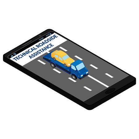 assistenza stradale tecnica sullo schermo del telefono cellulare. Carro attrezzi, auto, strada