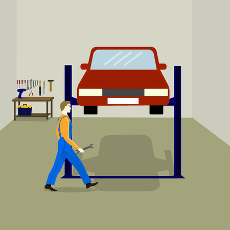 auto lift: the mechanic repairs the car in the service station. table with work tools, tool box, auto lift for car