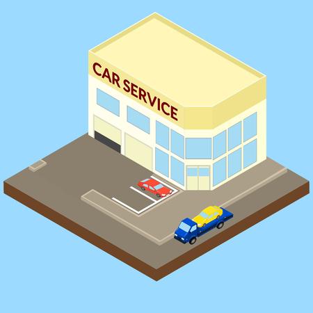 ilustracja. Szkodnikiem prowadzi samochód do serwisu samochodowego. Serwis samochodowy, laweta, parking, ul. izometryczny Ilustracje wektorowe