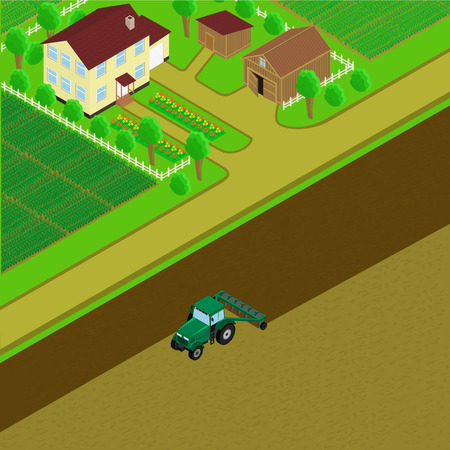 farm house: Farm. Farm house and barn. Tractor plowing the land, planting the fields, village road. illustration. isometric.