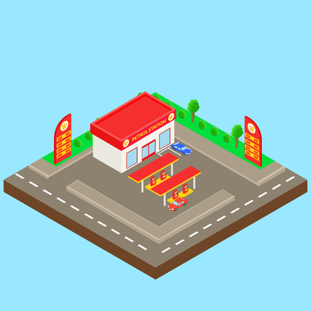 petrol station: petrol station near the road with a small shop, parking, car. Isometric. Illustration