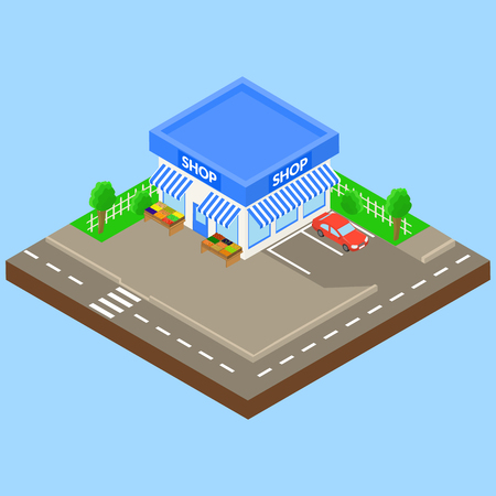 front exterior: corner shop outdoor with parking and car, boxes of fruit and vegetables on the street. isometric.