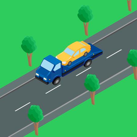montacargas: un camión de remolque que lleva un coche en la carretera Vectores