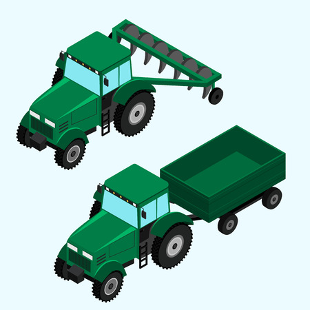 plow: 3d icons tractor with plow and tractor with trailer. isometric