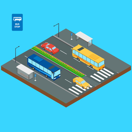 autobus: illustration. Bus stop and road. Bus, bus stop, cars, bus stop sign Illustration