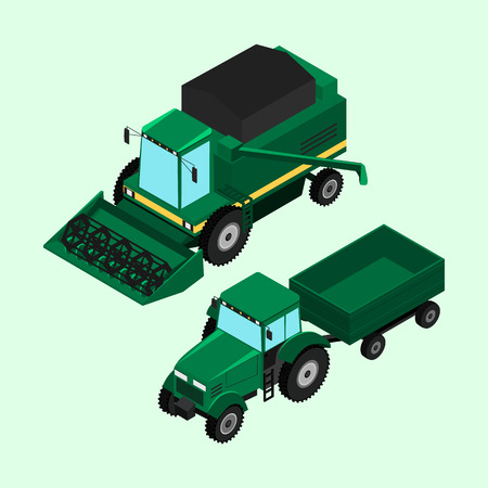 tillage: illustration. Combine for harvesting and tractor trailer isolated. Illustration