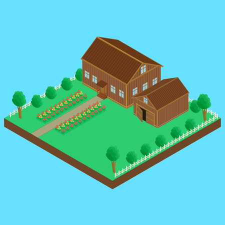 illustration. Wooden house and wooden shed, fenced. A bed of flowers, isometric Illustration