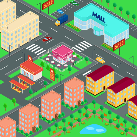 parking station: illustration. City. Mall, houses, cafes, petrol station, truck, car, Parking, Park. isometric Illustration