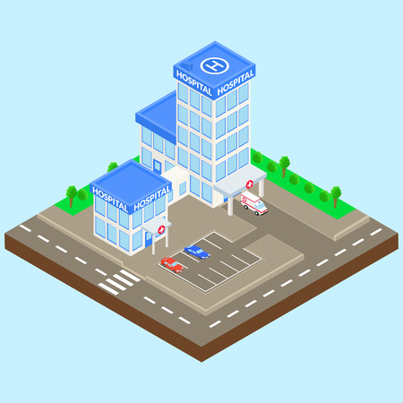car care center: hospital building on a city street. Ambulance, parking, car. Isometric. Illustration