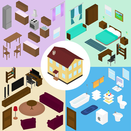 kitchen furniture: Isometric furniture set. The house, furniture for kitchen, bathroom, living room, bedroom.