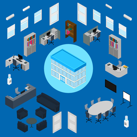 illustration. Office interior set - office furniture, stationery, computer, phone, desk, armchairs, sofa, chairs, table, window, door, air conditioning, office building. isometric. infographic. Ilustração