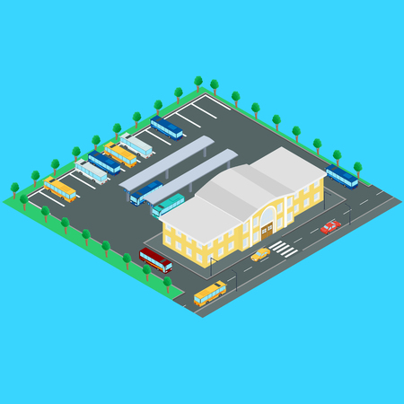 bus station: illustration. bus station. Buses, bus stop, Parking. Building bus station, road, machine. Infographics, isometric