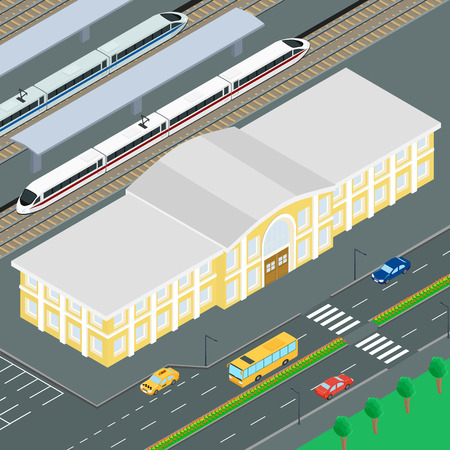 railway station: illustration. The building of the railway station. Train on the railway platform railway station. Parking cars, road, car, bus. Infographics, isometric Illustration