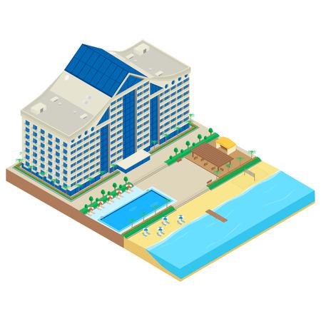 海岸沿いに近代的なホテル。ホテルの建物、ビーチ、デッキチェア、パラソル、カフェ、スイミング プール。インフォ グラフィック、等尺性