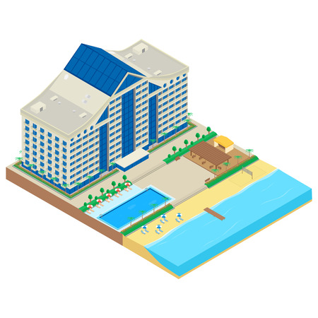 Modern hotel on the seafront. hotel building, beach, deckchair, parasol, cafe, swimming pool. Infographics, isometric