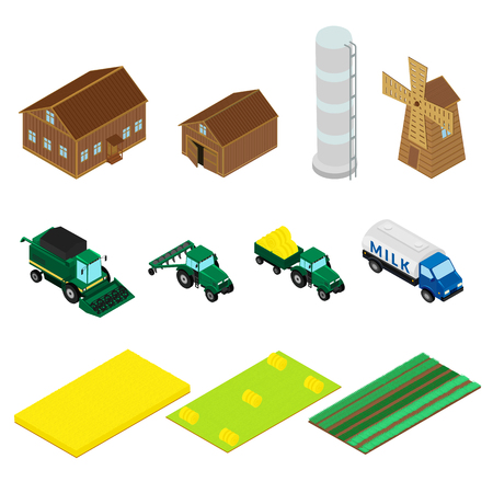 Set of icons of farm buildings and agricultural machinery. House, barn, windmill, tractor, harvester. isometric, infographic