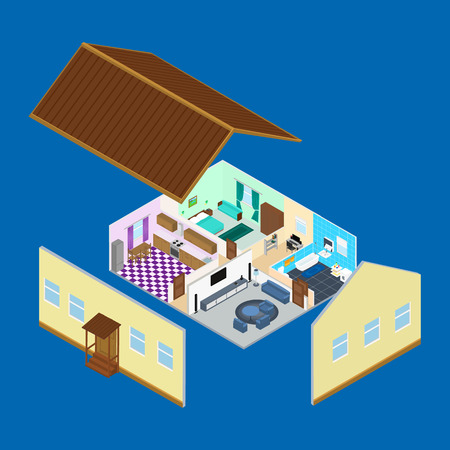 inside house: The interior of the rooms inside the house. Bathroom, kitchen, living room, bedroom. a desk with a computer. Infographic. isometric. Illustration