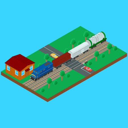 boxcar: Railroad crossing, freight train carries a tank container wagon. Semaphore and the sign railroad crossing with a barrier. Stock Photo