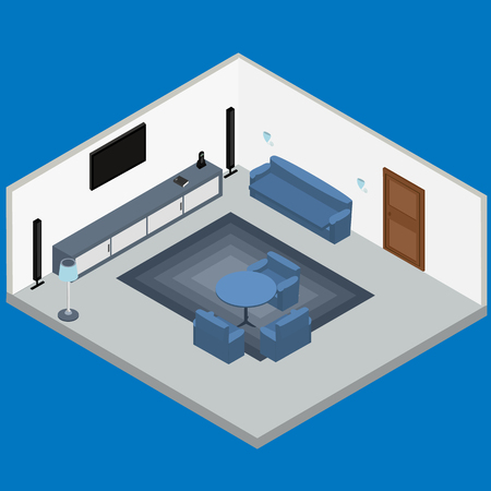 living room tv: Interior living room - TV, sofa, chairs, table. Isometric, infographic