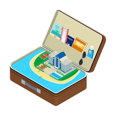 hotel pool: Open the suitcase, sea, a coastal hotel with a swimming pool, a passport, a plane ticket, sunglasses, sunscreen. isometric, infographic Illustration