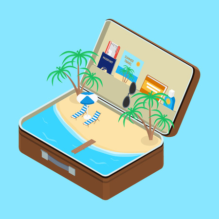 loungers: Open suitcase, a beach with palm trees and sun loungers. Passport, a plane ticket, sunscreen, book. isometric, infographic Illustration