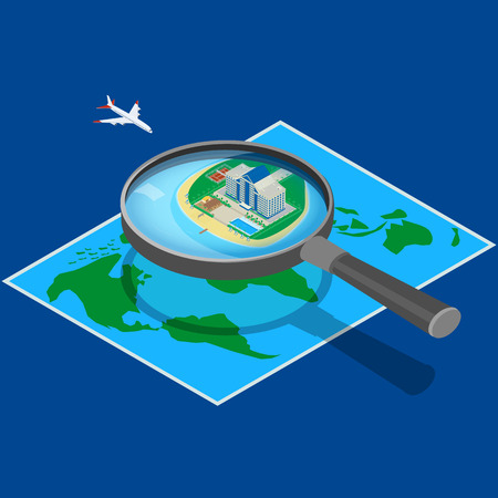 coastlines: Modern hotel on the map near the sea. look through a magnifying glass. Hotel flying airplane. A beachfront restaurant, swimming pool, tennis court. isometric, infographic