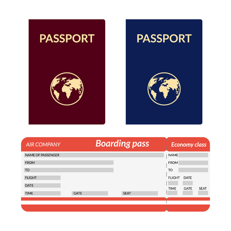 foreign nation: Passport with globe blue and red. Airplane ticket. Illustration