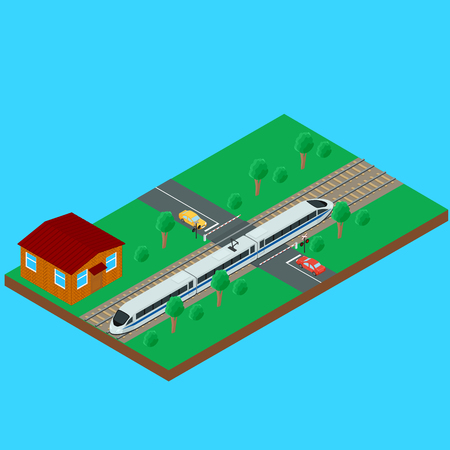 railroad crossing: High-speed passenger train traveling through the railroad crossing. House train the inspector. Semaphore, a barrier, car on the road. isometric, infographic
