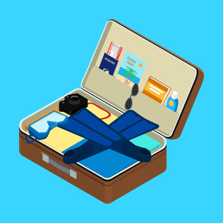 flippers: open suitcase with things. Mask, flippers, a passport, a plane ticket, sunscreen, camera. isometric, infographic