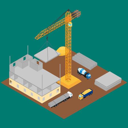 建設現場、建設、クレーン、コンクリート ミキサー、トラックの下の家。コンクリート ブロック。アイソ メトリック、インフォ グラフィック